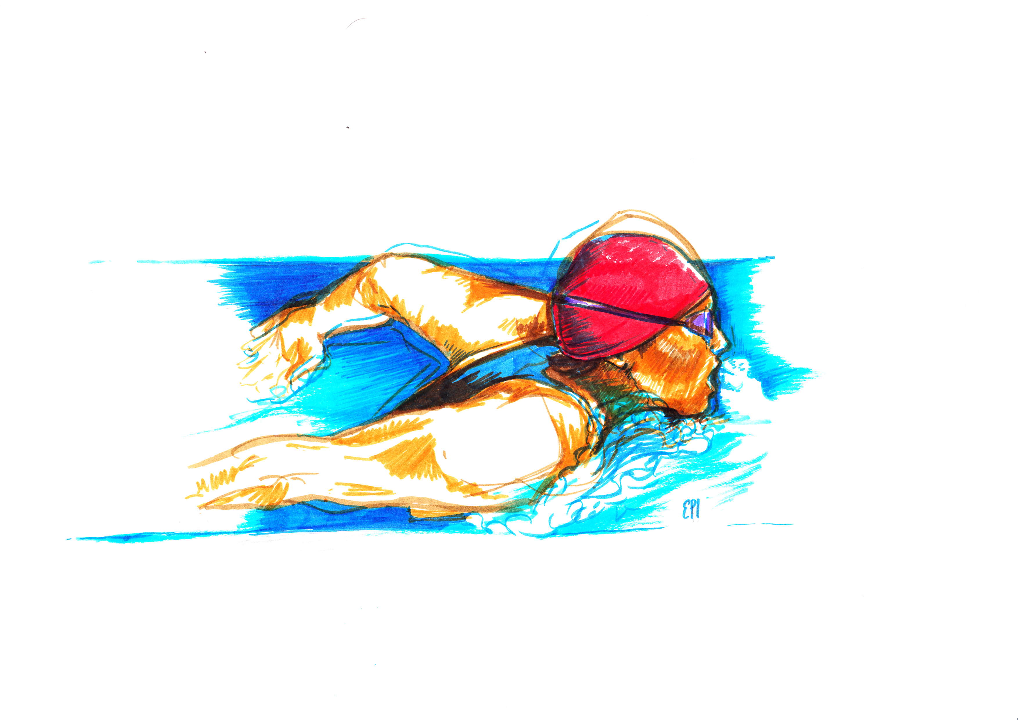 The Swimmer a pennarello (Elisabetta Percivati)