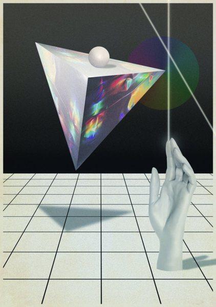 Piramide-flotando-sobre-manos-de-laser-Digital-Collage-2013