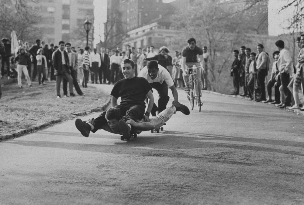 Youths riding skateboard.  (Photo by Bil