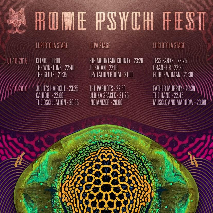 La timetable del festival.