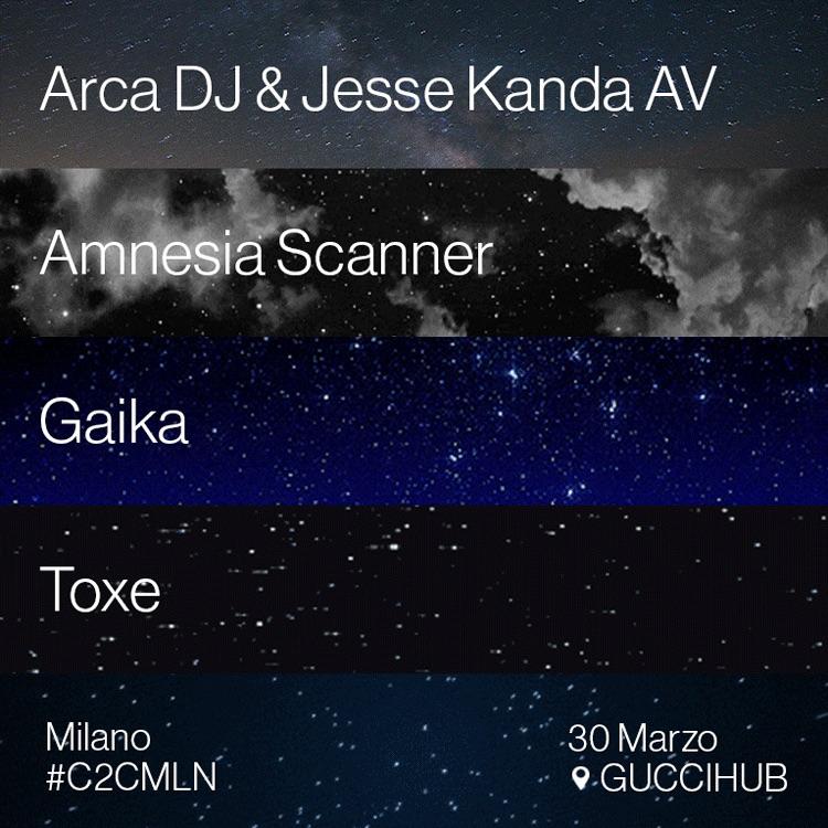 #C2CMLN con Arca DJ & Jesse Kanda AV, Amnesia Scanner, Gaika, Toxe